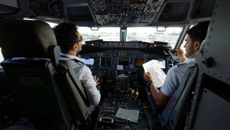 Ryanair pilots in cockpit