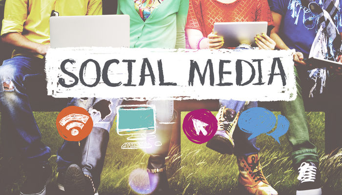 Group of people using social media
