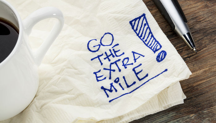Motivational napkin reminding you to take some initiative at work
