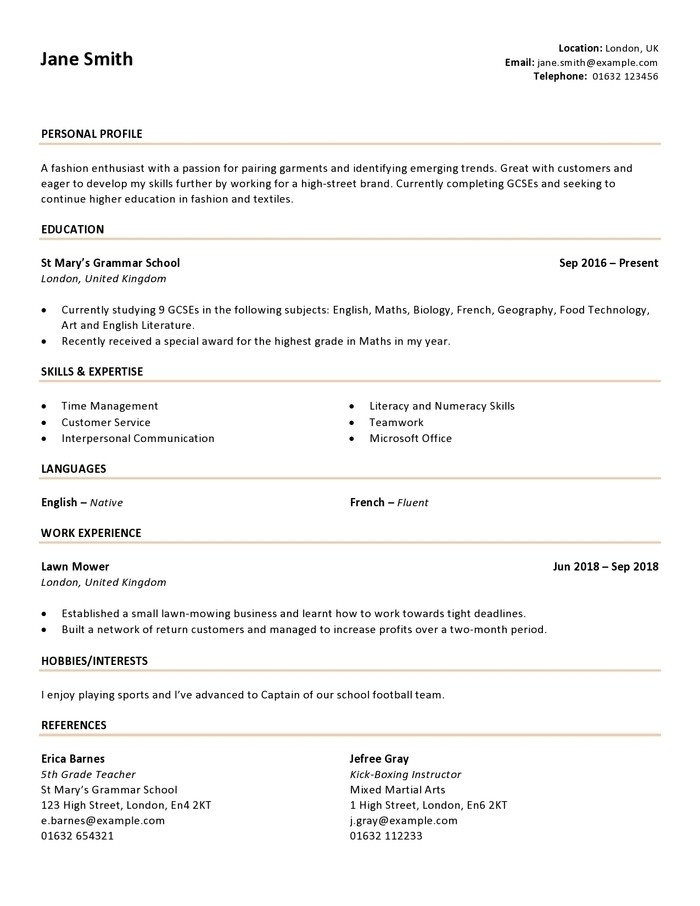 French Cv Example from cdn0.careeraddict.com