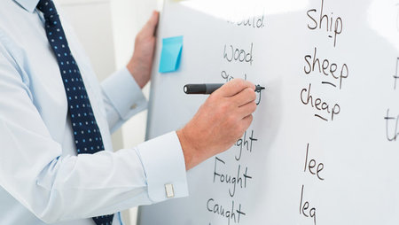 Close-up of a male teacher writing English words on a whiteboard