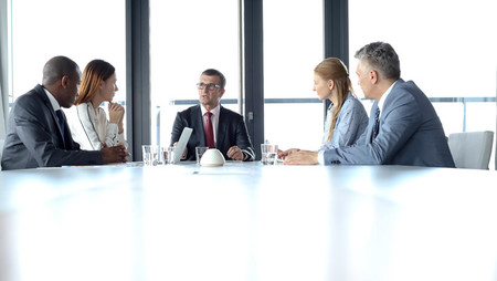 Group of business people having a discussion in a conference room