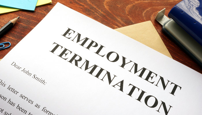 Close-up of an employment termination letter