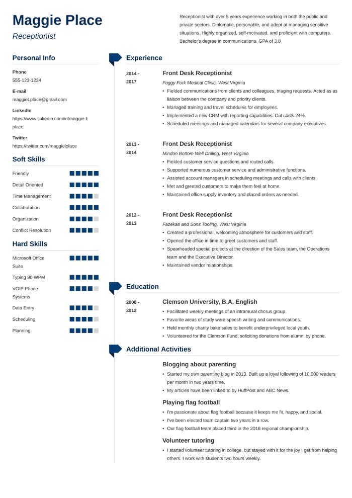 Receptionist CV example