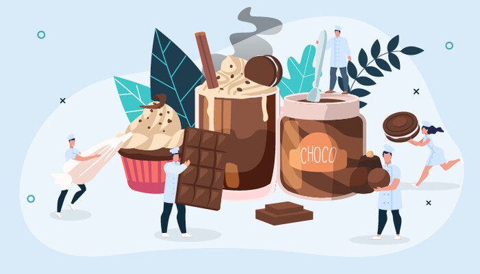Illustration of miniature people surrounded by chocolate products