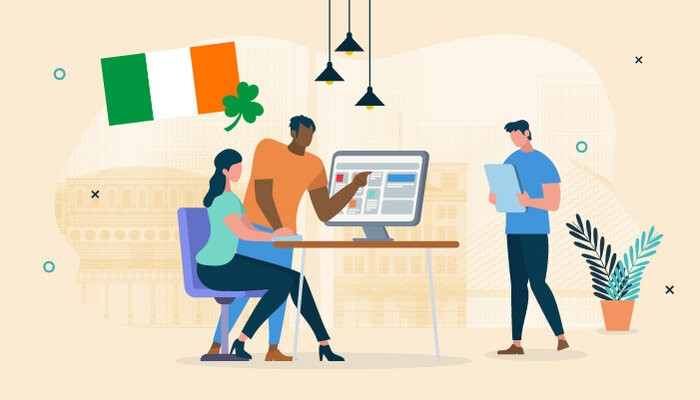 Illustration of the Irish flag and people working in an office