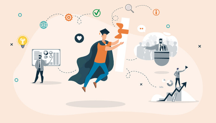 Illustration of a male graduate jumping in the air holding his diploma