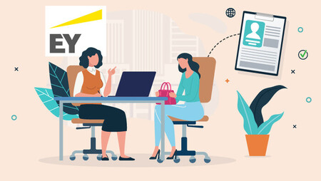 Illustration of a woman interviewing for a job at EY