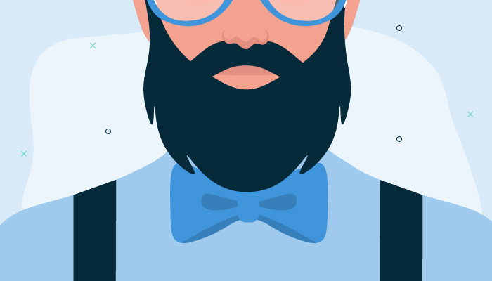 Illustration of a man's beard who is wearing a blue shirt, bow tie and glasses