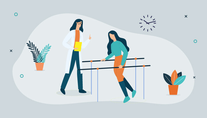 Illustration of a physiotherapist working with a female patient