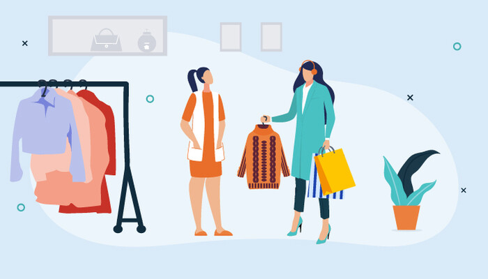 Illustration of a woman buying clothes with the help of a female shop assistant