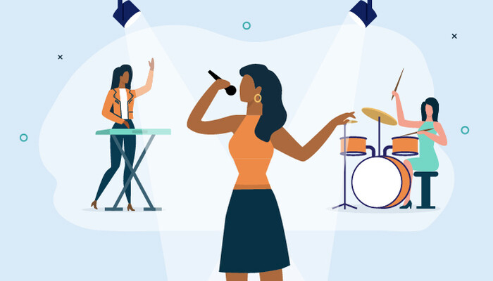 Illustration of three female musicians singing, performing and playing instruments