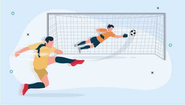 Illustration of football athlete kicking a ball and a goalie