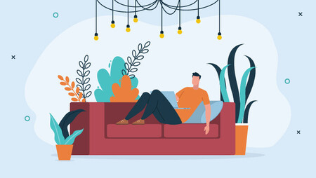 Illustration of a man lying on a red sofa with his laptop against a blue background