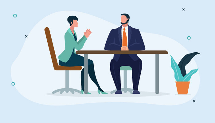 Illustrationf of a woman and a man sitting down in a meeting