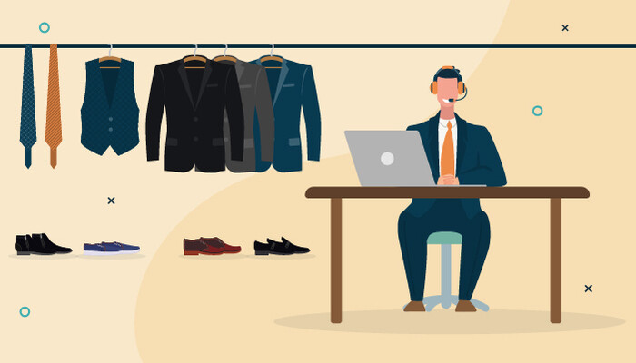 Illustration of man wearing a headset and a black suit, sitting in front of a laptop with a wardrobe of suits, ties and shoes behind him