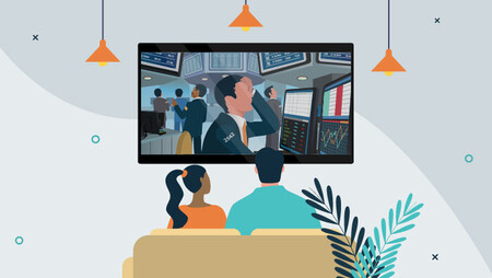 Illustration of a man and a woman sitting on a couch and watching a movie on a  tv screen