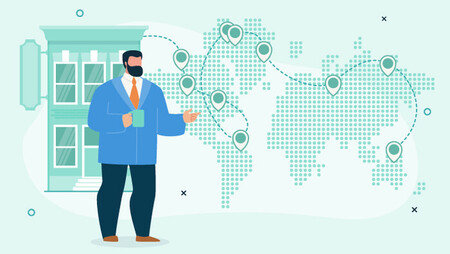 Illustration of a businessman holding a mug and standing in front of a world map