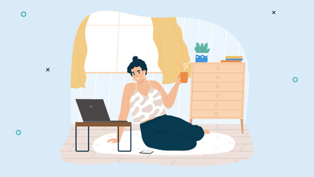 Illustration of a woman sitting on the floor of her living room and holding a cup of coffee while looking at her laptop screen