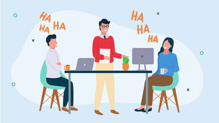 Illustration of three employees laughing, two of them sitting down in front of computers, and one standing up and holding some papers