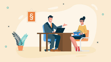 Illustration of a woman sitting across a man in his office