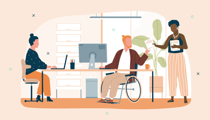 Illustration of a man sitting in a wheelchair in front of his desk, a woman working on her laptop on the same desk and another woman holding papers and handing the man some documents
