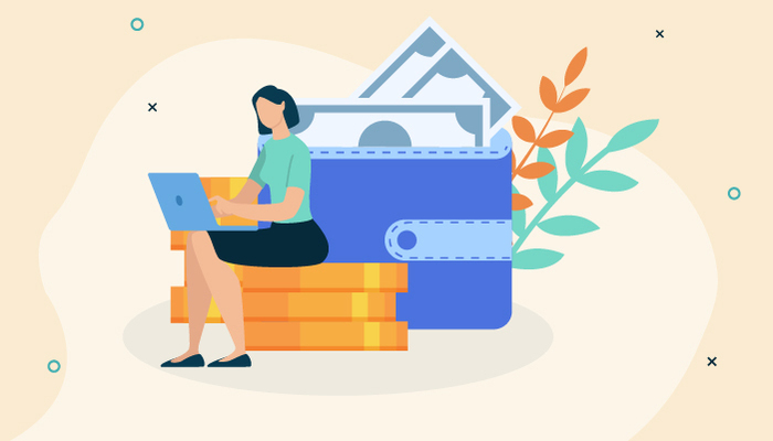 Illustration of a woman sitting on large coins working on a laptop and surrounded by a large wallet