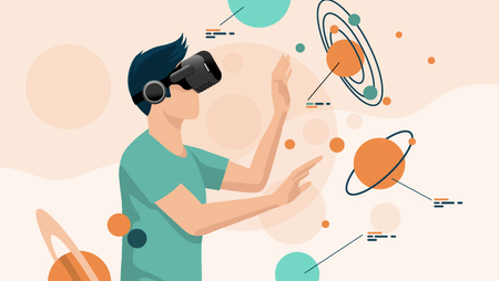 Illustration of a man wearing a VR headset and being around various planets