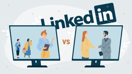 Illustration of two computer screens depicting people interacting in front of the LinkedIn logo