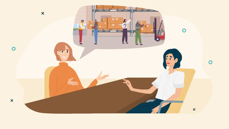 Illustration of two women discussing workplace health and safety during a job interview