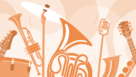 Illustration of musical instruments including a saxophone, tuba, drums, guitar and a microphone