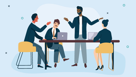 Illustration of a group of people and a standing man in a meeting