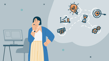 Illustration of a woman next to a thought bubble containing lightbulb, money and various other icons