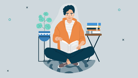 illustration of a person sitting cross-legged on the floor and reading a book