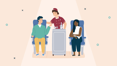 Illustration of a flight attendant pushing a trolley and standing between two passengers seated within the cabin