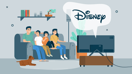 Illustration of a family of four sitting together on a couch and watching a TV with a speech bubble over that says 'Disney'